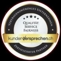 Qualitätssiegel von Kundenversprechen.ch für Rolf Schmidt Inkasso